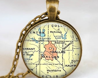 Dallas Texas map necklace, Dallas texas pendant, dallas map jewelry gift for him her with gift bag