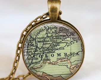 Colombia map  necklace,  Colombia South  America map pendant ,  Colombia glass dome pendant,map jewelry