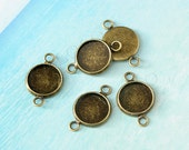 50pcs antique bronze round gemstones cameo cabochons base setting connectors - for 12mm cab BN370A
