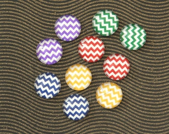 10pcs handmade assorted  chevron texture round clear glass dome cabochons 12mm (12-0887)