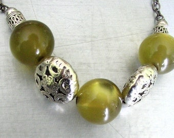 necklace jewelry moss green glass beads and silver decorative beads on gunmetal chain