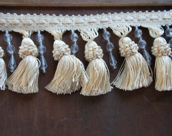 Tassels Beads Elegant Fringe Trim Interior Design Pillows, Shades, Drapes, Sew Crafts 38 inches