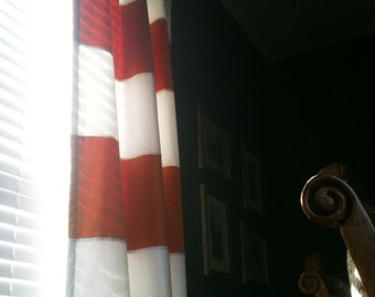 "Pair of 50"" x 96"" ring top style Velvet Stripe Orange and White Lined Drapes  - Ready to ship"