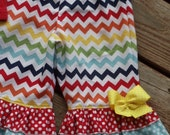 """BACK TO SCHOOL """"Cool School"""" collection Girls chevron/dots made to order capris or pants in sizes 6-12-18-24 mth 2-3-4-5-6-7-8-10"""