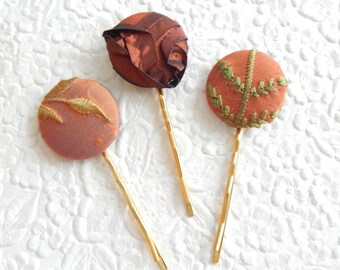 3 copper mix hair-pins, embroidered hairpins, fabric hairpins, 1 1/8 inch hairpins, hair accessory, womens accessory