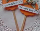 Fall Pumpkin Lollipop Embellishments-Set of 2-Cupcake Toppers