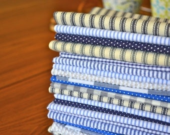 Blue Bundle in Gingham, Dots and Stripes- Blue by Dot and Army