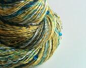 Vegan Art Yarn - DAISIES' VICTORY - Handspun from Artificial Fibre, Linen, Bamboo. Glass Beads, Sequins. Vegan Knitting. 274 yards, 2.75 oz