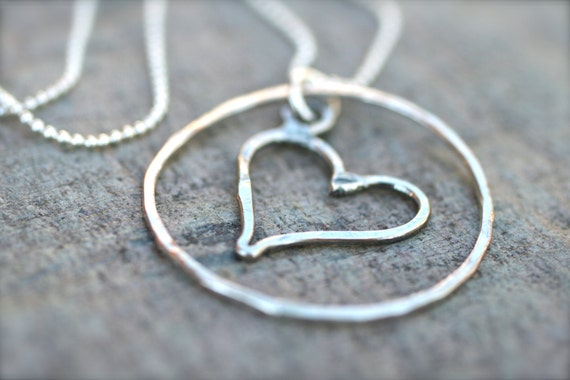 Circle of Love Sterling Silver, Heart Pendant, Necklace, Valentine's Day Jewelry