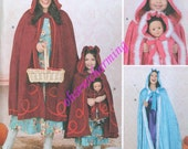 Red Riding Hood or Frozen Cape / Cloak Costume Sewing Pattern Simplicity 1348 Sizes XS-S-M-L-XL and childrens too