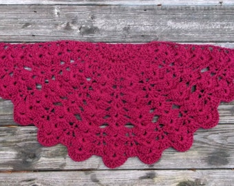"Wine Cotton Crochet Rug in Half Circle 16"" x 34"" Non Skid"
