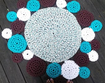"""Turquoise, White, Brown Patio Porch Cord Crochet Rug in 36"""" - 41"""" Circle READY TO SHIP"""