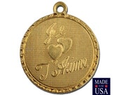 Raw Brass Je T ' Aime I Love You  Word Charm Drop with Loop (1) chr190EE