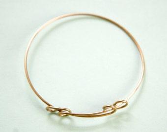 Raw Brass Adjustable Bangle Charm Bracelet Loop Style LG (1) fnd302A