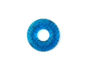 Vintage Teal Blue Etched Acrylic Hoop Ring Beads (6) bds1012A