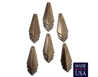 Brass Ox Layered Triangle Pendant Charm Drop SM (6) mtl065M