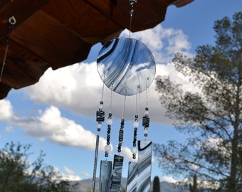 Windchime Black and White Swirls Stained Glass Suncatcher with Moonstone Beads