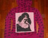 Frank Zappa apllique boom box printed hot pink hoodie, ladies medium