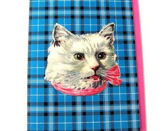 Kitten Card // Vintage Creepy White Cat Card on Blue Tartan Plaid