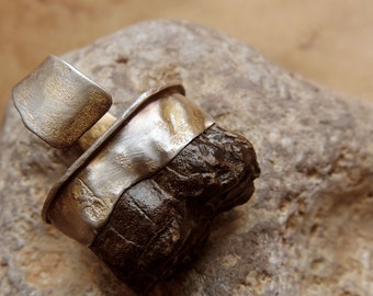 Primitive Fossil Horse Tooth High Profile Adjustable Statement Ring in Sterling Silver
