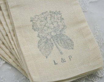 Personalized Muslin Favor Bags / Drawstring Gift Bags - Blue Hydrangeas SET OF 10