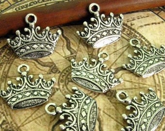 10 Silver Crown Charms 17mm - Antique Silver Finish Tiara Pendant, Queen Charm, King Charm, Lead Free, Nickel Free (SC0046)