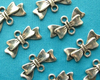 Bow Charms Ribbon Connectors - Set of 12 - Antique Silver Finish Bow Tie 1-to-1 Connectors Links (SC0031)