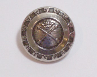 Silver Buttons, Silvertone Metal Buttons 11/16 inch(17 mm) diameter x 20 pieces, Crossed Arrows and Crown