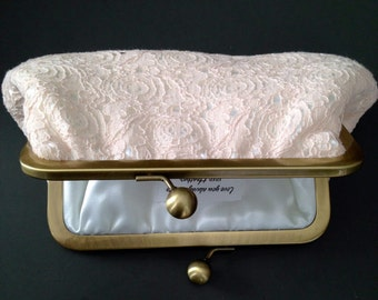 Blush Vintage Cotton Lace with Ivory Clutch