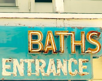 Bathroom decor, bath time, guest room photography, kids, orange, bathtime, teens, motel sign, vintage sign photo,turquoise, pumpkin, aqua