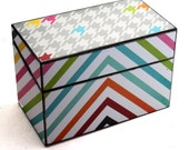 Kitchen Recipe Box Wood  Fits 4x6 Cards Gray Blue Green Houndstooth and Stripe