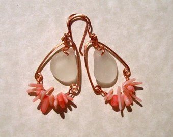Beach Tribal -Sea Glass and Coral Teardrop Hoop Earrings -Copper Jewelry