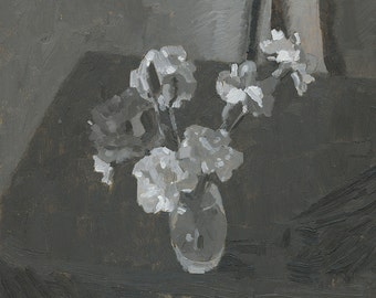 Grayscale Carnations - Original Oil Painting