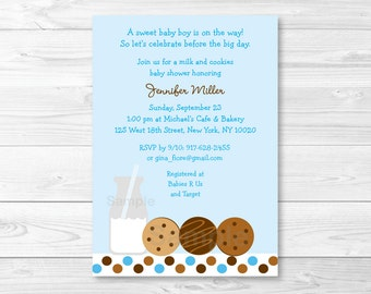 Milk and Cookies Baby Shower Invitation PRINTABLE