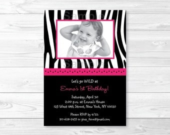 Pink Zebra Print Birthday Invitation / Zebra Stripe Birthday Invite / Hot Pink & Black / First Birthaday / Second Birthday / PRINTABLE