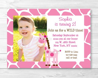 Cute Pink Giraffe Birthday Invitation / Giraffe Birthday Invite / Jungle Animal / Pink & White / 1st Birthday / Any Age PRINTABLE