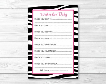 Pink Zebra Print Wishes for Baby Advice Cards INSTANT DOWNLOAD