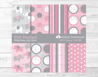Pink Elephant Digital Paper PERSONAL USE Instant Download