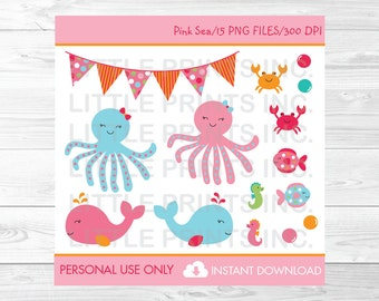 Pink Under the Sea Clipart PERSONAL USE Instant Download