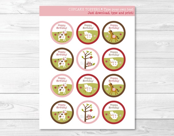 Cute Pink Farm Animal Cupcake Toppers / Farm Animal Baby Shower / Farm Animal Birthday / INSTANT DOWNLOAD Editable PDF