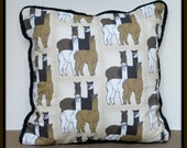 Four Alpacas Group Large Pillow With Quilted Fabric Back