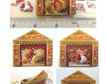 Miniature Little Red Riding Hood Toy Theater Kit in one twelfth or half scale, Dollhouse Kit