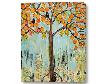 Canvas Art Wall Decor Paris Map, Love Birds, 16X20 or 20X24 Paris Print Art, Fine Art Print, Tree of Life