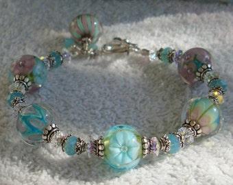 Soft Breeze  Lampwork Sterling Silver Crystal Bracelet  dmfsparkles