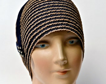 Women's Cloche Hat - 1920s Straw Cloche - Gatsby Hat