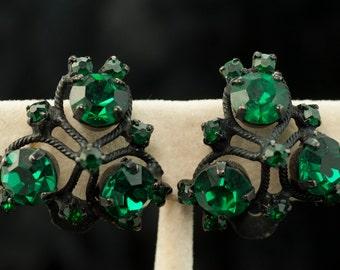 Clip Earrings by Warner - Triangular Dark Green Rhinestones in Black Setting