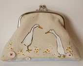 PURSE One of a kind, screen printed and hand painted large coin purse or small clutch ... Indian Runner ducks