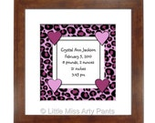 Birth Announcement Print - Pink Leopard Design