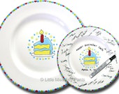 11 inch Ready to Ship - Hand Painted Signature Birthday Plate - Piece of Cake Design