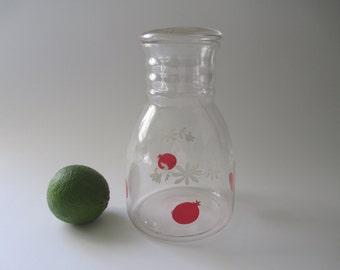 Vintage Red and White Glass OJ Decanter - Retro